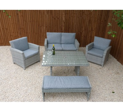 Milan 2 Seater 4 Piece Lounge Dining set with Bench
