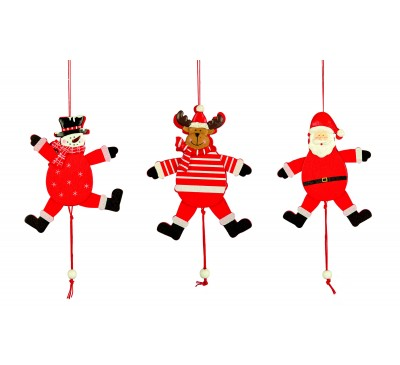 15cm Wooden Pull Leg Character 3 Assorted Santa/Snowman/Reindeer