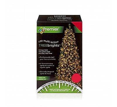 1000 Treebrights LED Vintage Gold Coloured Timer Christmas Lights