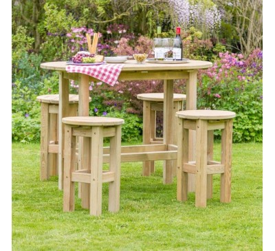 Bahama Oval Table and 4 Stool Set