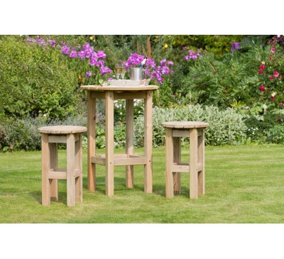 Bahama Round Table and 2 Stool Set