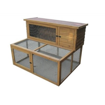 Rabbit Hutch with Double Run