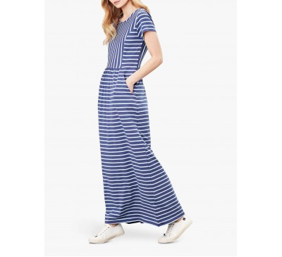 Joules Trudy Bluestripe Short Sleeve Maxi Dress