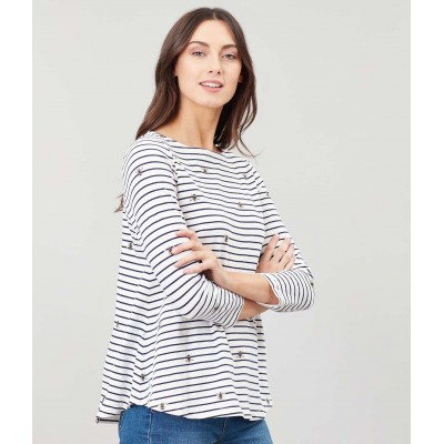 Joules Harbour Light Beestripe Swing Jersey Top