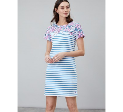 Joules Short Sleeve Blue Floral Striped Riviera Print Dress