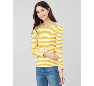 Joules Harbour Gold Stripe Long Sleeve Jersey Top