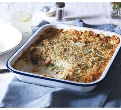 Salmon & Asparagus Gratin (Serves 1)