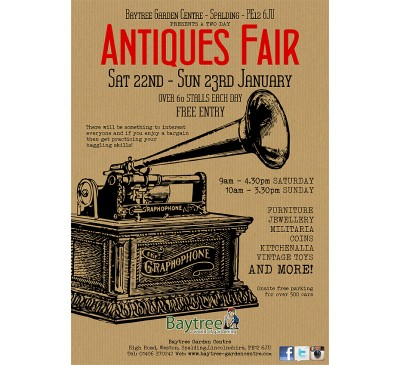 Baytree Antiques Fair Saturday 22nd - Sunday 23rd January 2022