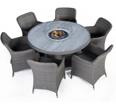 Catania Round 6-Seat Set with Fire Pit - Anthracite