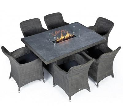 Catania Rectangular Firepit 6-Seat Set - Anthracite