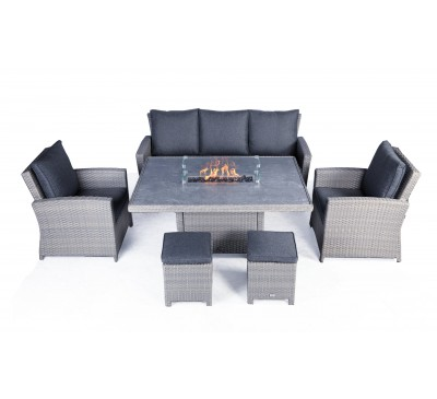 Catania Lounge Dining Set with Fire Pit