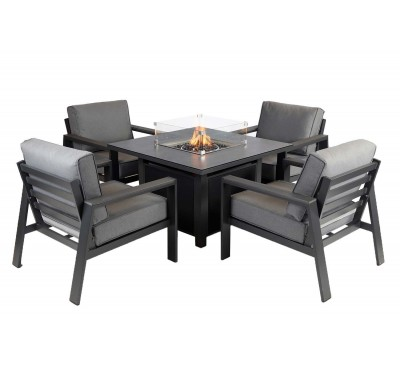 Montefrio 4-Seat Lounge Set with Fire Pit
