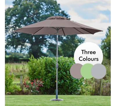 Riviera 3m Deluxe Crank Parasol Grey/Taupe/Mint