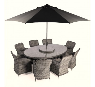 Venosa Oval Eight Seat Set with Lazy Susan and Parasol