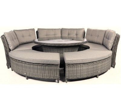 Venosa Deluxe Curved Modular Dining Set with Lazy Susan