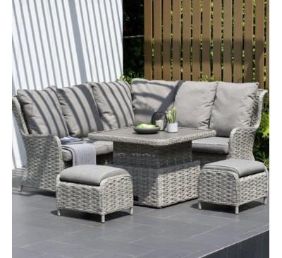 Eden High-Back Corner Set with Adjustable Table