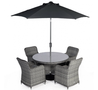 Roma 4-Seat Set with Parasol