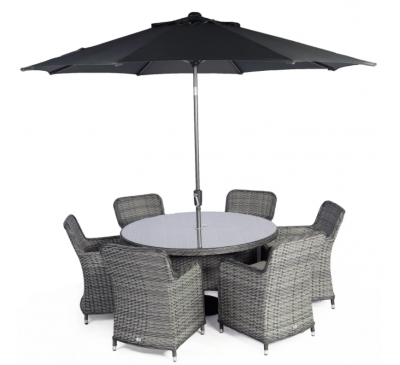 Roma 6-Seat Set with Parasol