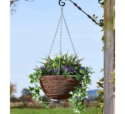 Faux Planted Hanging Basket - Easy Basket Lilac