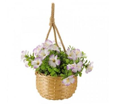 Faux Basket Bouquet - Pastel Blossom 23cm