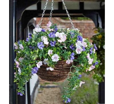 Faux Planted Hanging Basket - Petunias