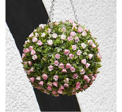 Faux Topiary Ball - Pink Rose 30cm
