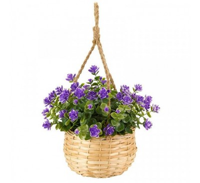 Faux Basket Bouquet - Purple Floret 18cm