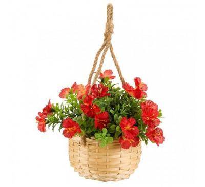 Faux Basket Bouquet - Red Blossom 23cm
