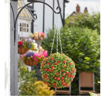 Faux Topiary Ball - Red Rose 30cm