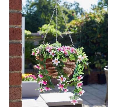 Faux Planted Hanging Basket - Star Gazing Lillies