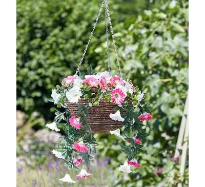 Faux Planted Hanging Basket - Summer Bloom