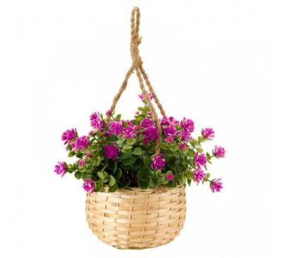 Faux Basket Bouquet - Violet Floret 18cm