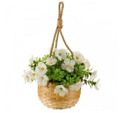 Faux Basket Bouquet - White Blossom 23cm