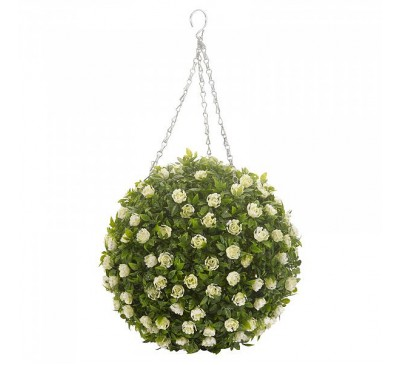 Faux Topiary Ball - White Rose 30cm