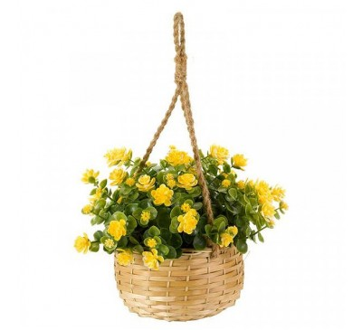 Faux Basket Bouquet - Yellow Floret 18cm