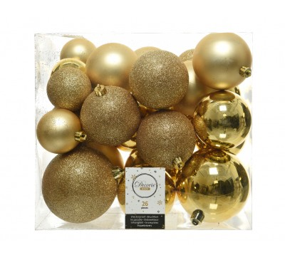 Shatter Proof Plain Bauble Mix Gold Assorted Size