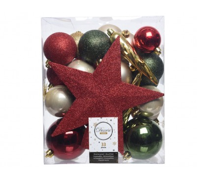Shatter Proof Bauble Mix with Topper Country Christmas