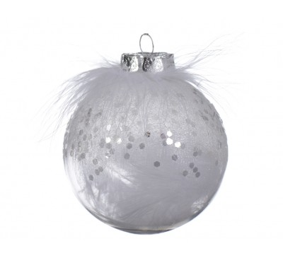 Shatter Proof Bauble White Feathers transparent/white