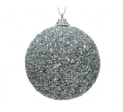 Bauble With Glitter Bead Silver