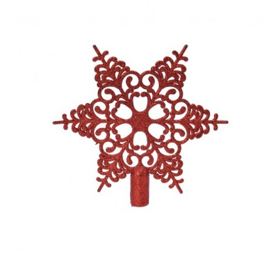 Shatter proof Red Snowflake Tree Topper