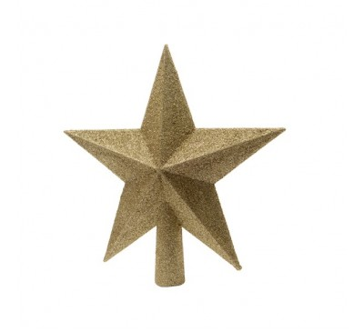 Shatter Proof Tree Top Star Gold Glitter