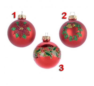 Assorted Classic Red Baubles 3 designs to choose from