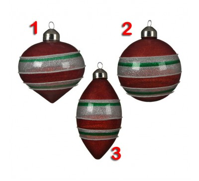Assorted Glass Decorations with Stripes 3 to choose from