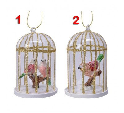 Glass Bird in Birdcage 2 to choose from