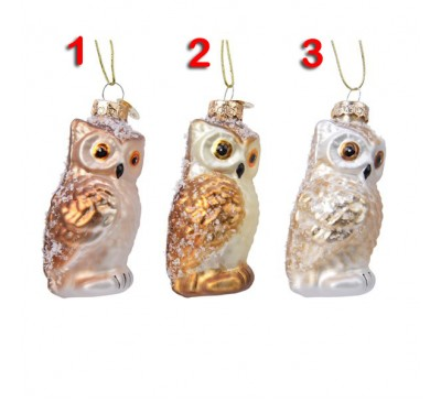 Assorted Glass Owl Tree Decorations 3 to choose from