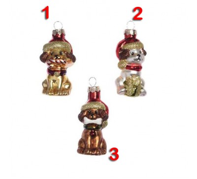 Assorted Glass Dog Tree Decorations 3 to choose from