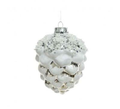 White Glass Pinecone Tree Decoration