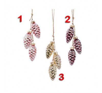 Assorted Glass Pinecone Tree Decorations 3 to choose from