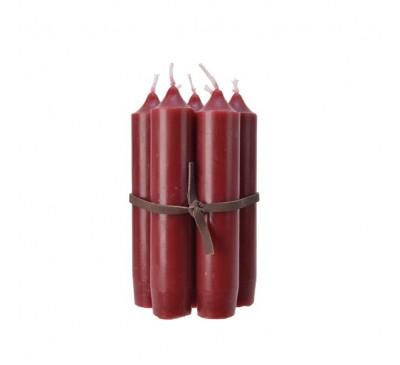 7 Wax Taper Candles Green 6.5x6.5x11cm