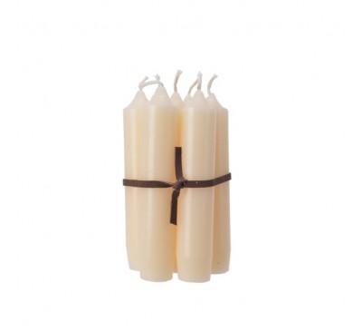 7 Wax Taper Candles Natural 6.5x6.5x11cm